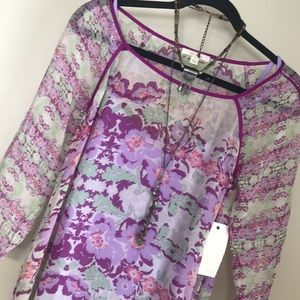 NWT Ella Moss Double later floral silk blouse